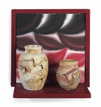 virtual still life #10: nemadji earth potter framed in candy apple red by roger brown