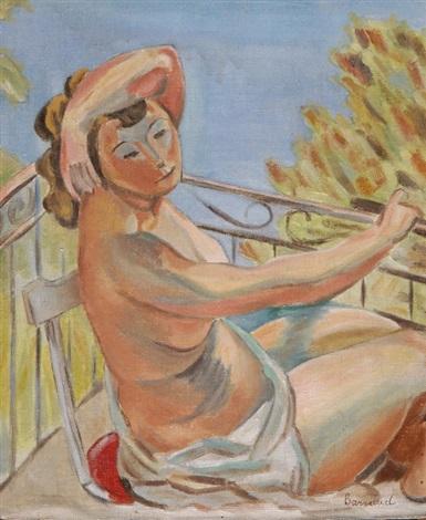 weiblicher halbakt am balkon sitzend by maurice barraud
