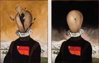 from the memories of destruction series (diptych) by aydin aghdashloo