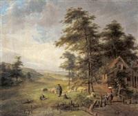 landschaft mit schafherde und figürlicher staffage by jean baptist joseph bastine
