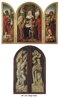 the adoration of the magi, the annunciation (triptych) by master of frankfurt