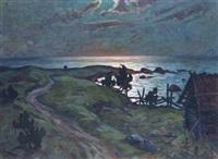 coastal path at dusk by anatoli dmitriewitsch kaigorodoff