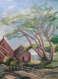 untitled (farm and tree) by abraham harriton