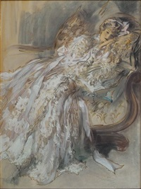 woman in white reclining by henry hutt