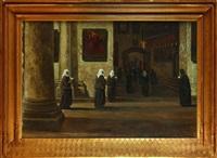 procession de religieuses au saint - sépulcre by louis gustave cambier