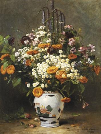 bouquet dasters et de soucis dans un vase chinois by charles félix edouard deshayes