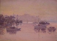 harbour at sunset by perceval charles (percy) lindsay
