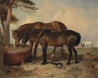merry trick and mark hall; a chestnut and a bay horse drinking from a trough in a landscape by sir edwin henry landseer