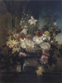 üppiger blumenstrauß aus päonien, tulpen und rosen in steinvase, schwer lesbar in der platte by friedrich ernst wolfrom
