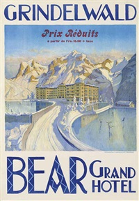 grindelwald, bear grand hotel by e. enblom