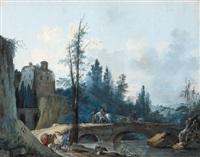 cavaliers traversant un pont by antoine pierre mongin