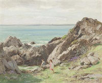 children playing on rocks by william stewart macgeorge