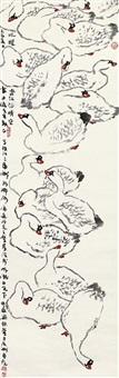 鸭 镜片 设色纸本 by liang zhaotang