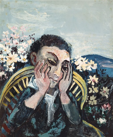 man thinking in cane chair with flowers by john de burgh perceval