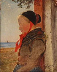 girl from amager in a doorway on a sunny day by johann julius exner
