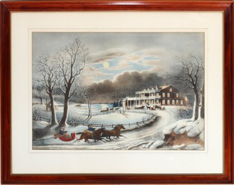 american winter evening after frances f palmer by nathaniel currier