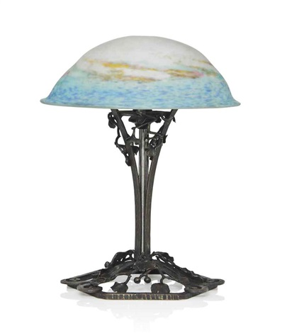 Art Deco Wrought Iron Table Lamp With Muller Freres Glass Shade By Muller  Frères (