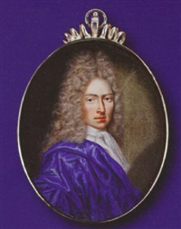 a gentleman, wearing blue cloak and white chemise with cravat, full-bottomed powdered wig by jacques-antoine arlaud