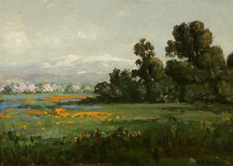 california landscape with poppies by william franklin jackson