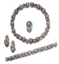 parure comprising a necklace, a bracelet, and a pair of pendent earrings (set of 3) by adler