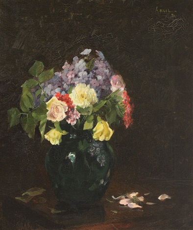 vase with roses and forget me not flowers by nicolae angelescu