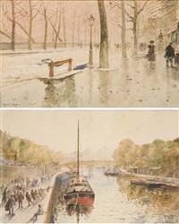 appareillage d'une péniche sur la seine devant le pont neuf (+ les quais de la rive droite en hiver, paris; 2 works) by francis garat