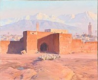 view of marrakesh in morocco with a shepherd and his sheep at the town gate by adam styka