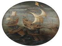 bataille navale entre un galion hollandais et un vaisseau de guerre et trois galères anglaises by hendrik cornelisz vroom