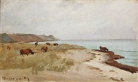beach scene with cows, hulerød in denmark by carl ludvig thilson locher
