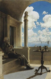 cardinal archbishop sat on his shaded balcony by maxfield parrish