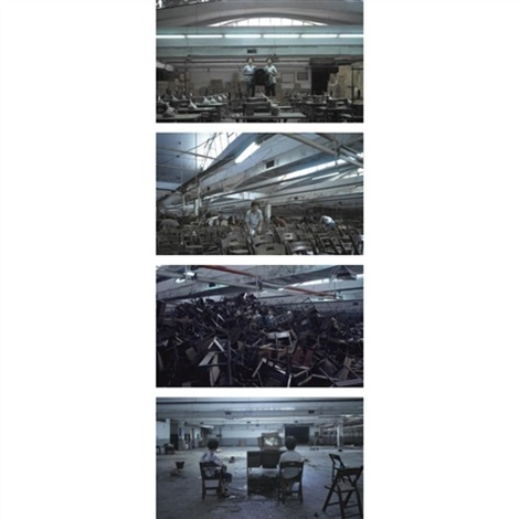 factory group of 4 film stills and dvd single channel video installation by chieh jen chen