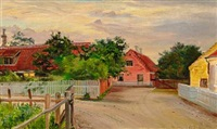 houses along a road in skagen by anna kirstine ancher