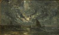 zeegezicht (marine) by louis artan de saint-martin