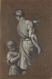 jeune homme vu de dos, accompagné d'un petit garçon by giovan gioseffo dal sole
