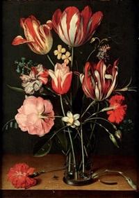 bouquet de tulipes avec une rose et des oeillets dans un gobelet de verre by jacob van hulsdonck