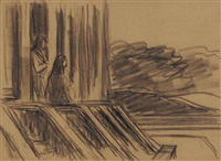 two figures (study for sunlight on brownstones) by edward hopper