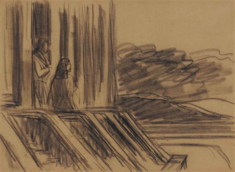 two figures study for sunlight on brownstones by edward hopper