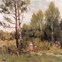 promenade au parc by aleksandr andreievich gusarevich