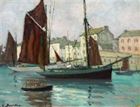 fishing boats in a harbour by georges bouillon