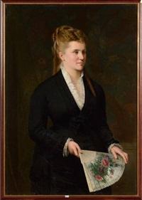 portrait d'une dame de qualité à l'éventail by andré hennebicq