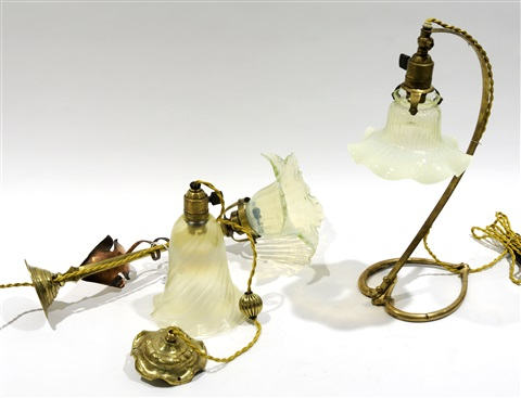 une applique une lampe de table et une petite suspension set of 3 by william arthur smith benson
