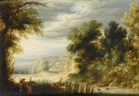 a wooded river landscape with a peasant couple collecting wild produce and water beside a waterfall by alexander keirincx