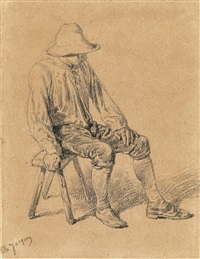 study of a seated peasant by charles jacques