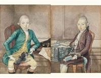 portrait d'homme au petit chien (+ portrait d'homme au livre; pair) by isaac lodewijk de la fargue van nieuwland