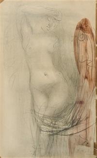 femme nue debout drapée by auguste rodin