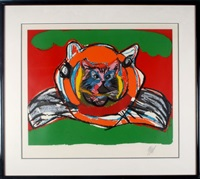 cat on cat on green by karel appel