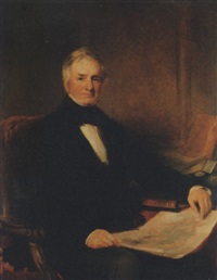 portrait of sir richard john griffith, 1st bt., in a black frock coat and white shirt, his left arm resting on a book, holding a geological map of ireland in his right hand, in an interior by stephen catterson smith