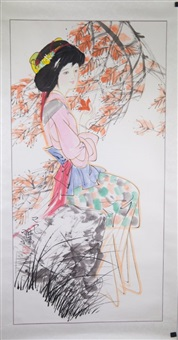 watercolor girl painting on paper lim yong signed by lin yong