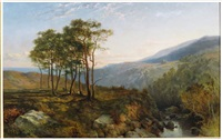 landscape with stream, distant mountains by john frederick kensett
