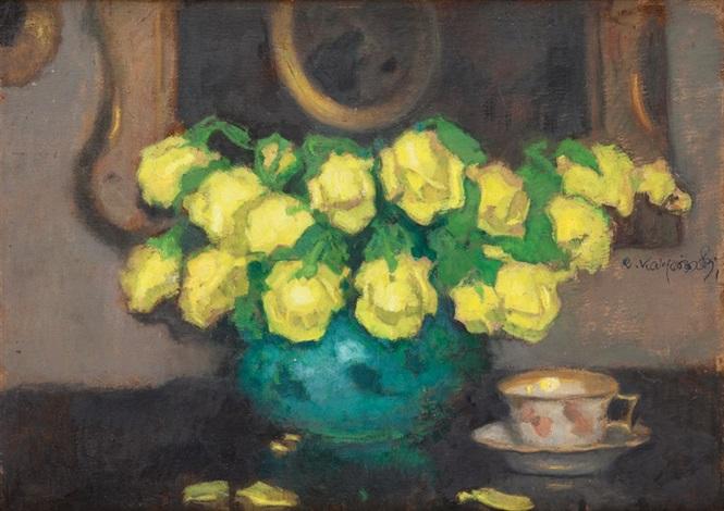 martwa natura z żółtymi różami by alfons karpinski